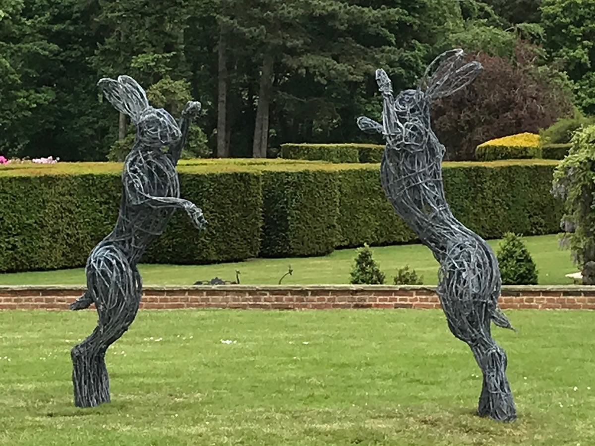 Large Hares Wire Sculpture