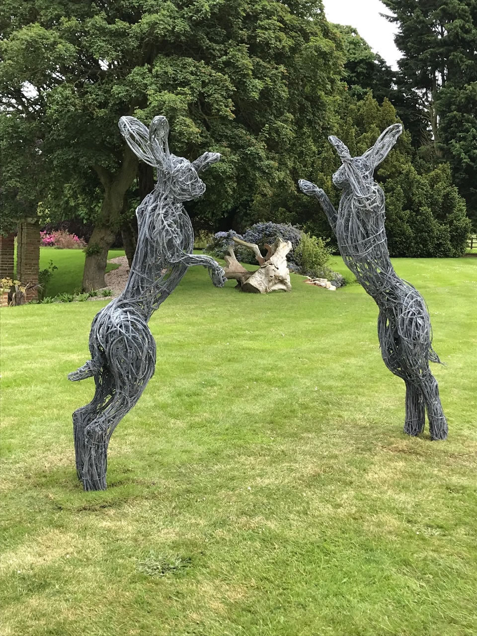 My 8 foot Chelsea Flower Show boxing hare wire sculptures installed in Norfolk were galvanised and etched to an aged finish