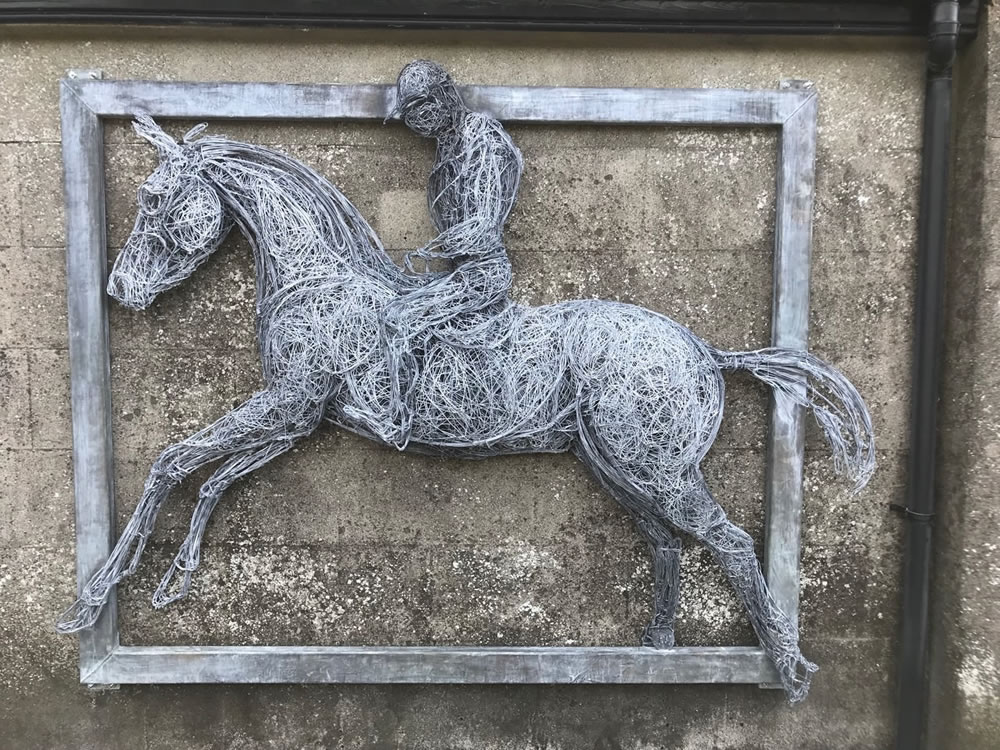 Degas inspired large relief sculpture in steel wire to celebrate 100 years of racing and horses in Grangecon, Co Wicklow, Ireland