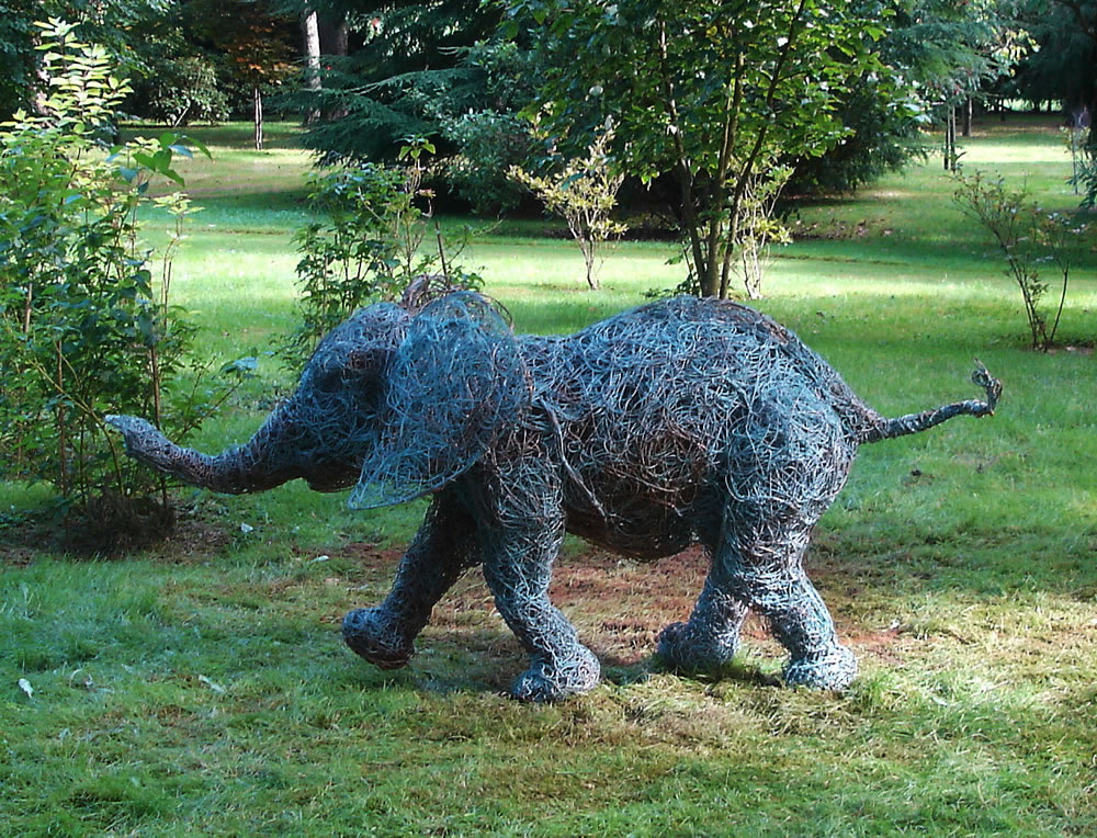 Jumbo   Wire Sculpture Of An Elephant.