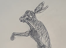 "Sketch of my steel wire sculpture ""Spring Hare""  ."