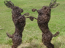Mad March Hares Wire Sculpture
